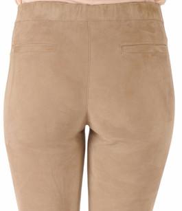 Pantalon Cuir Velours Stretch Beige Sartori Dodici