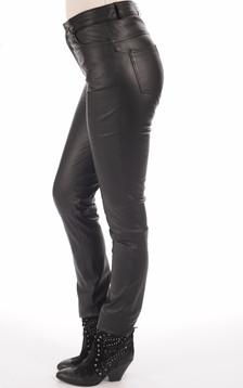 Pantalon Droit Cuir Noir Femme