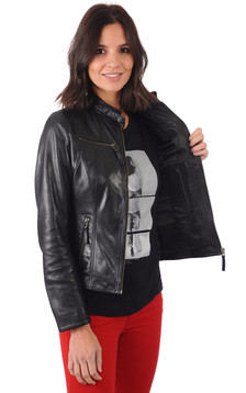 Blouson Cuir Femme Style Motard