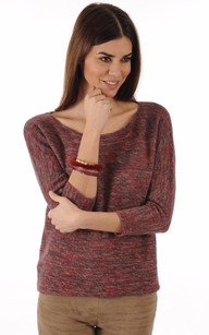 Bracelet Fantaisie Cuir & Vison Lie de Vin
