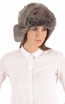 Chapka Femme Fourrure Lapin gris