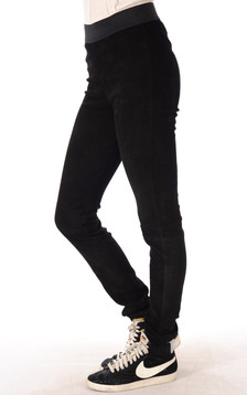 Legging Cuir Velours Noir
