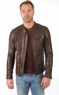 Veste en cuir brun homme