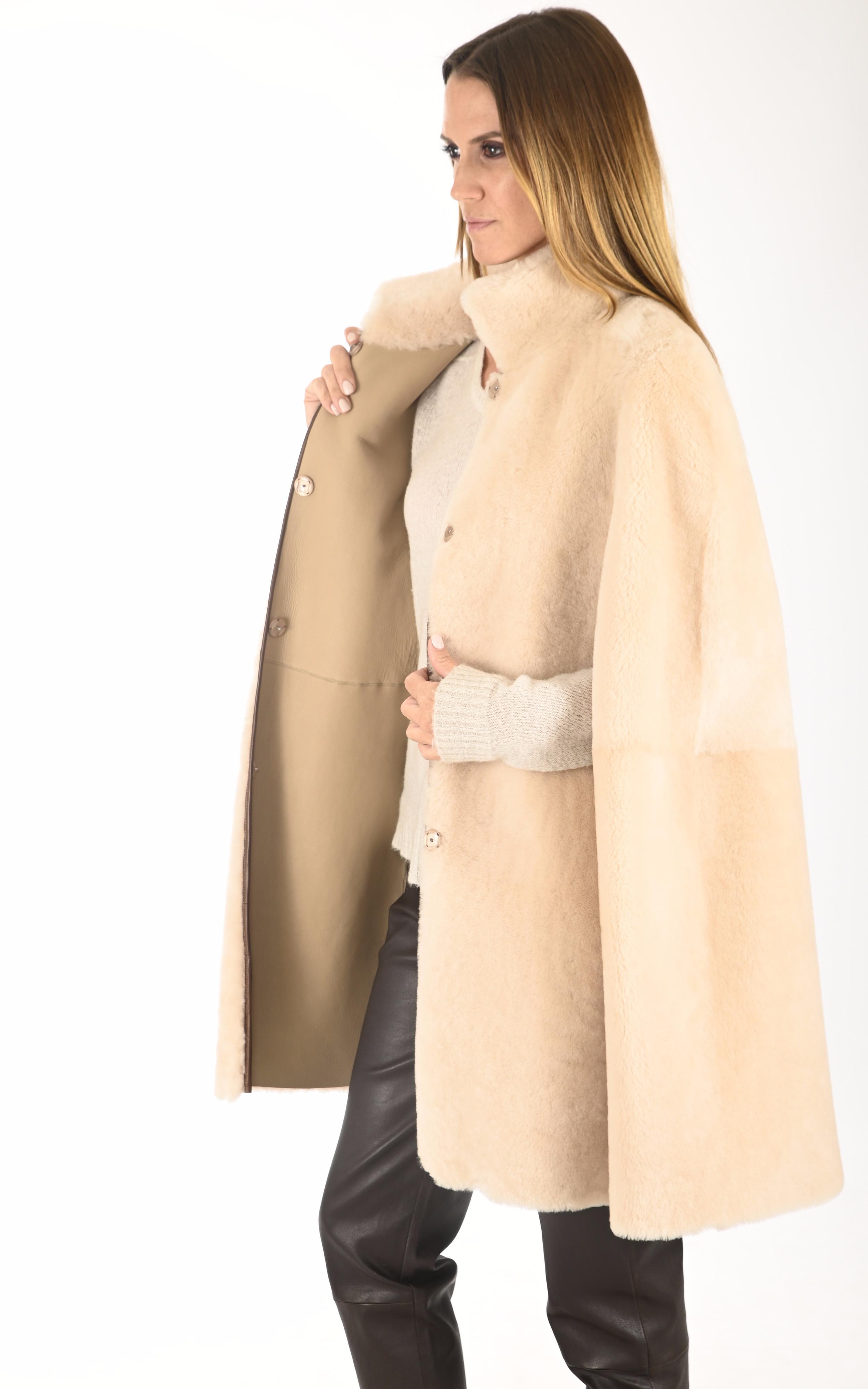 Cape peau lainée beige La Canadienne