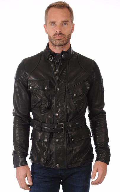 veste saharienne cuir noir belstaff la canadienne veste 3 4 cuir noir. Black Bedroom Furniture Sets. Home Design Ideas