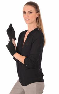Gants Cuir Velours Noir Femme