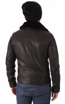 Blouson en cuir noir homme