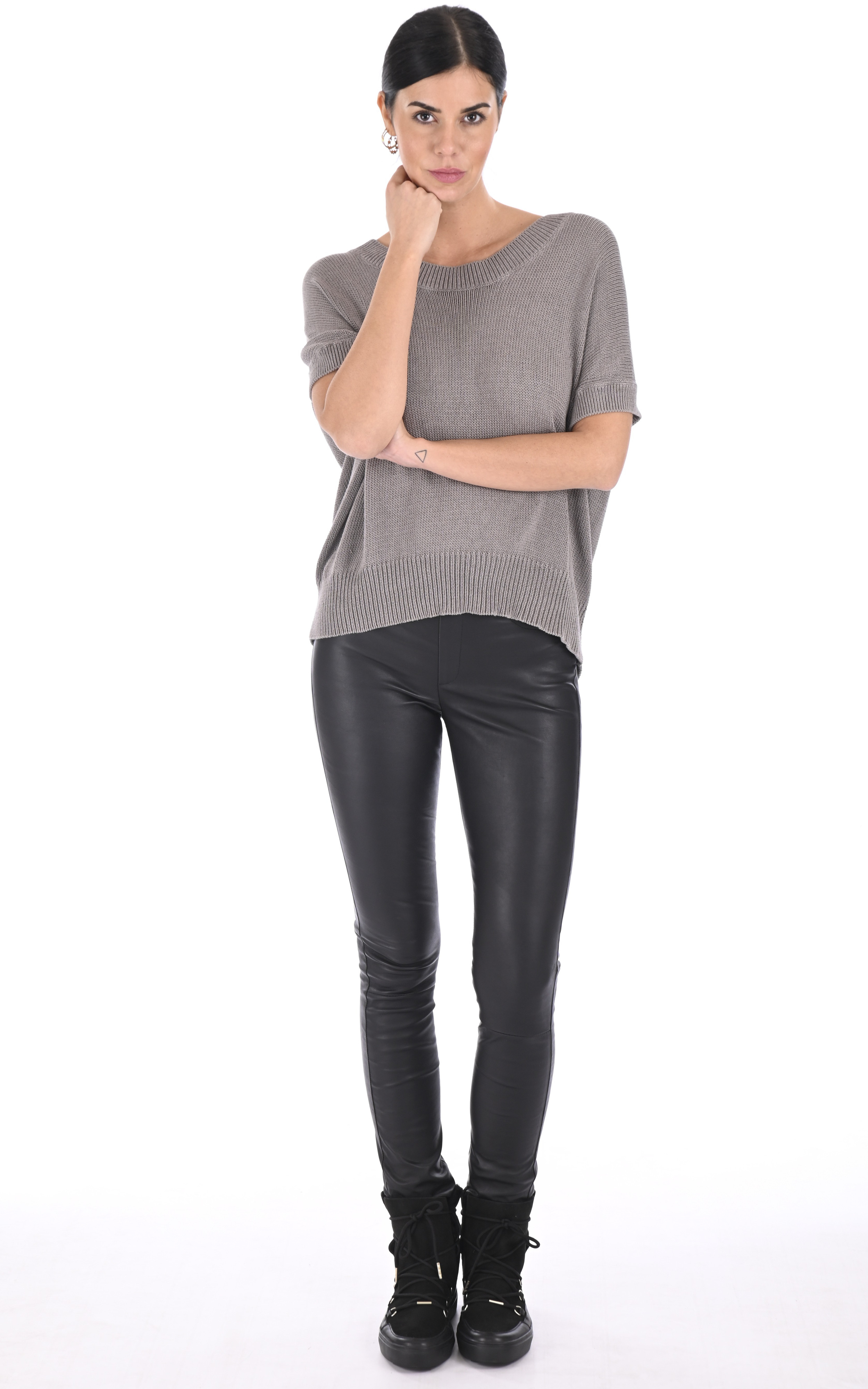Legging cuir stretch noir La Canadienne