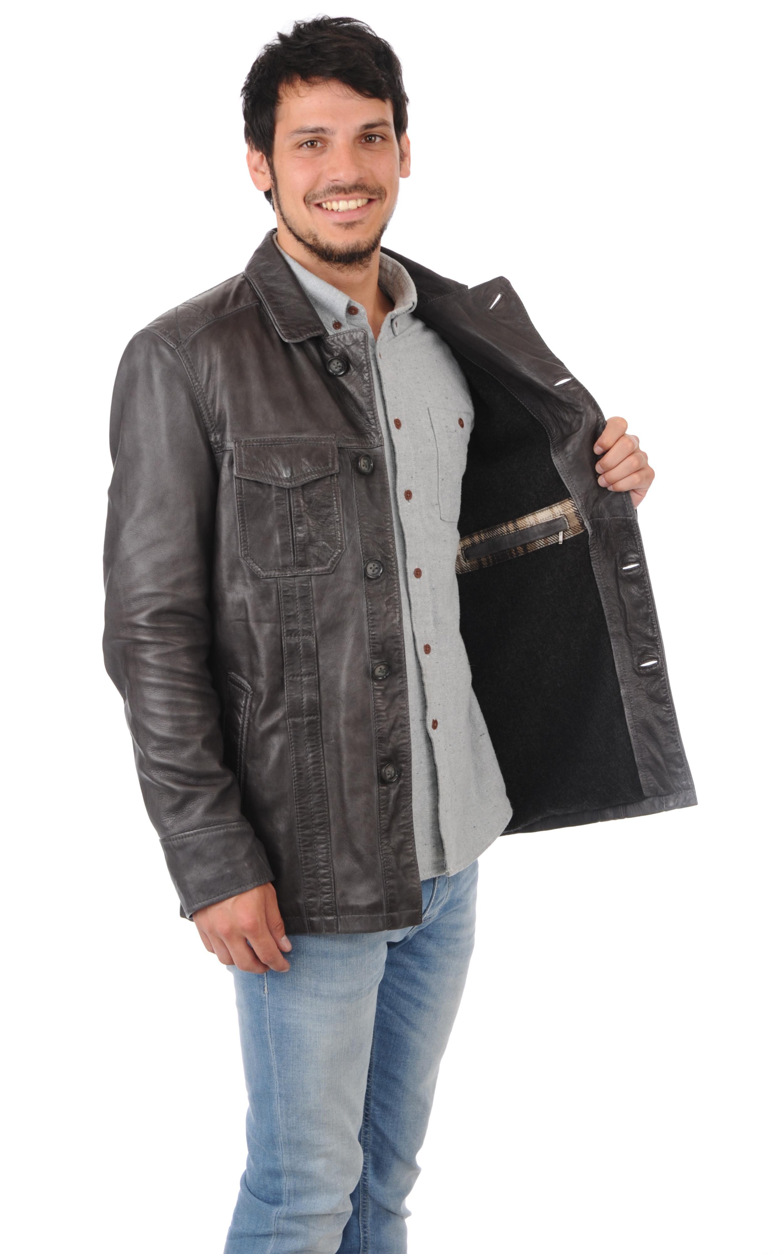 veste grise cuir homme oakwood la canadienne veste 3 4 cuir ardoise. Black Bedroom Furniture Sets. Home Design Ideas