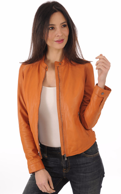 Blouson cuir souple orange Oakwood