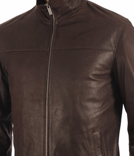 Blouson Cuir Grainé Marron Smarty