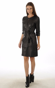 Robe cuir noir pour femme