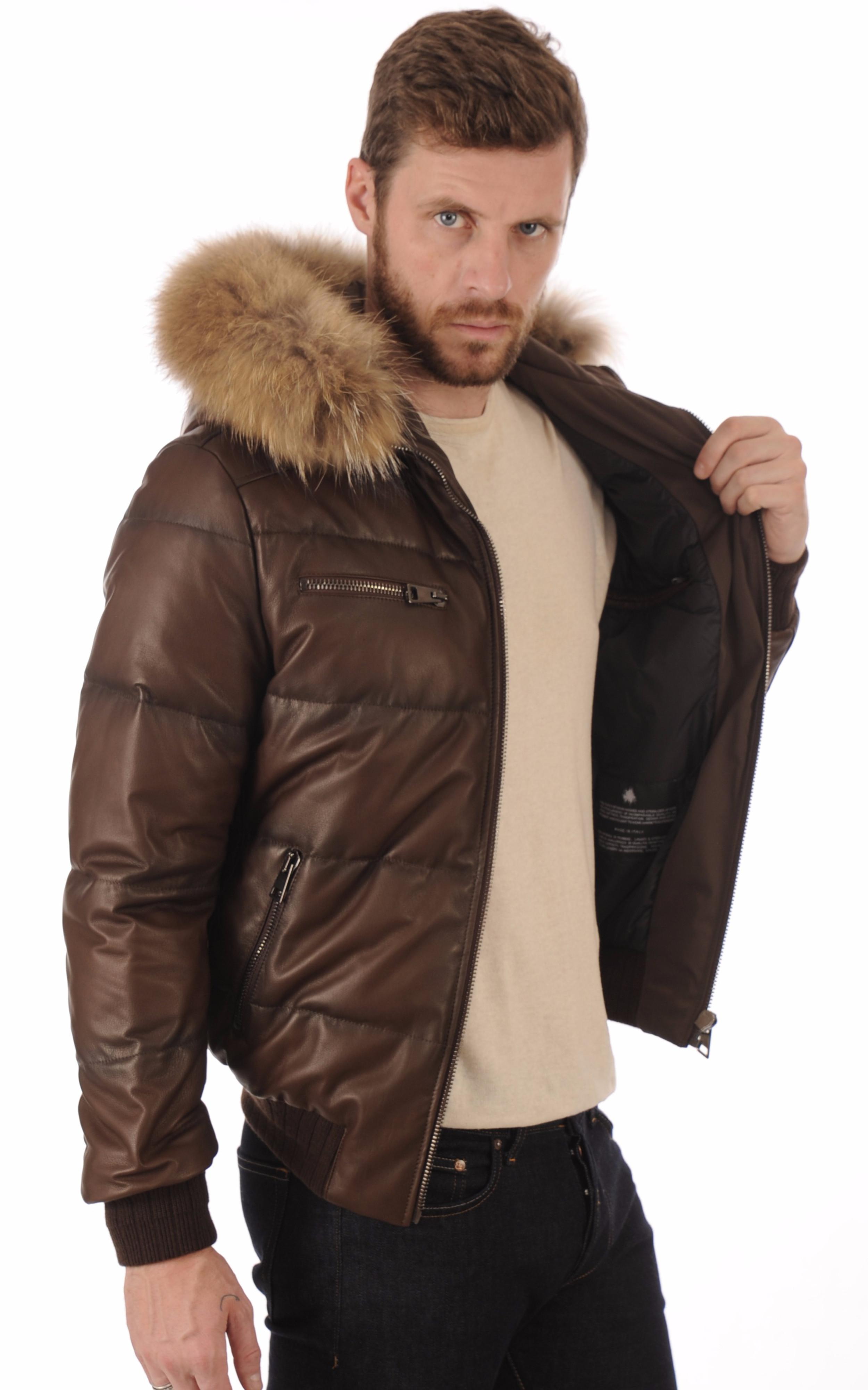 doudoune cuir pour homme marron la canadienne la canadienne doudoune parka cuir marron. Black Bedroom Furniture Sets. Home Design Ideas
