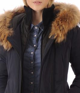Parka Salma bleue bordée renard Soia & Kyo