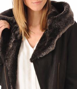Peau lainée patinée marron foncé La Canadienne