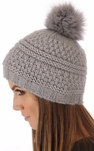 Bonnet laine et fourrure gris