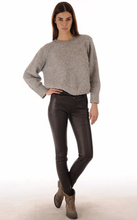 Pantalon Agneau Stretch Marron