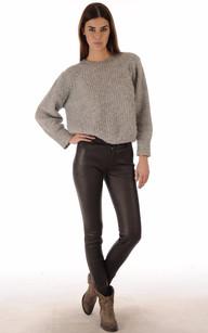 Pantalon Slim Cuir Agneau Strecht Marron