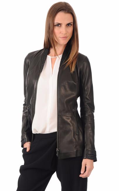 Veste en cuir pour femme la canadienne la canadienne veste 3 4 cuir noir - Laver une veste en cuir ...