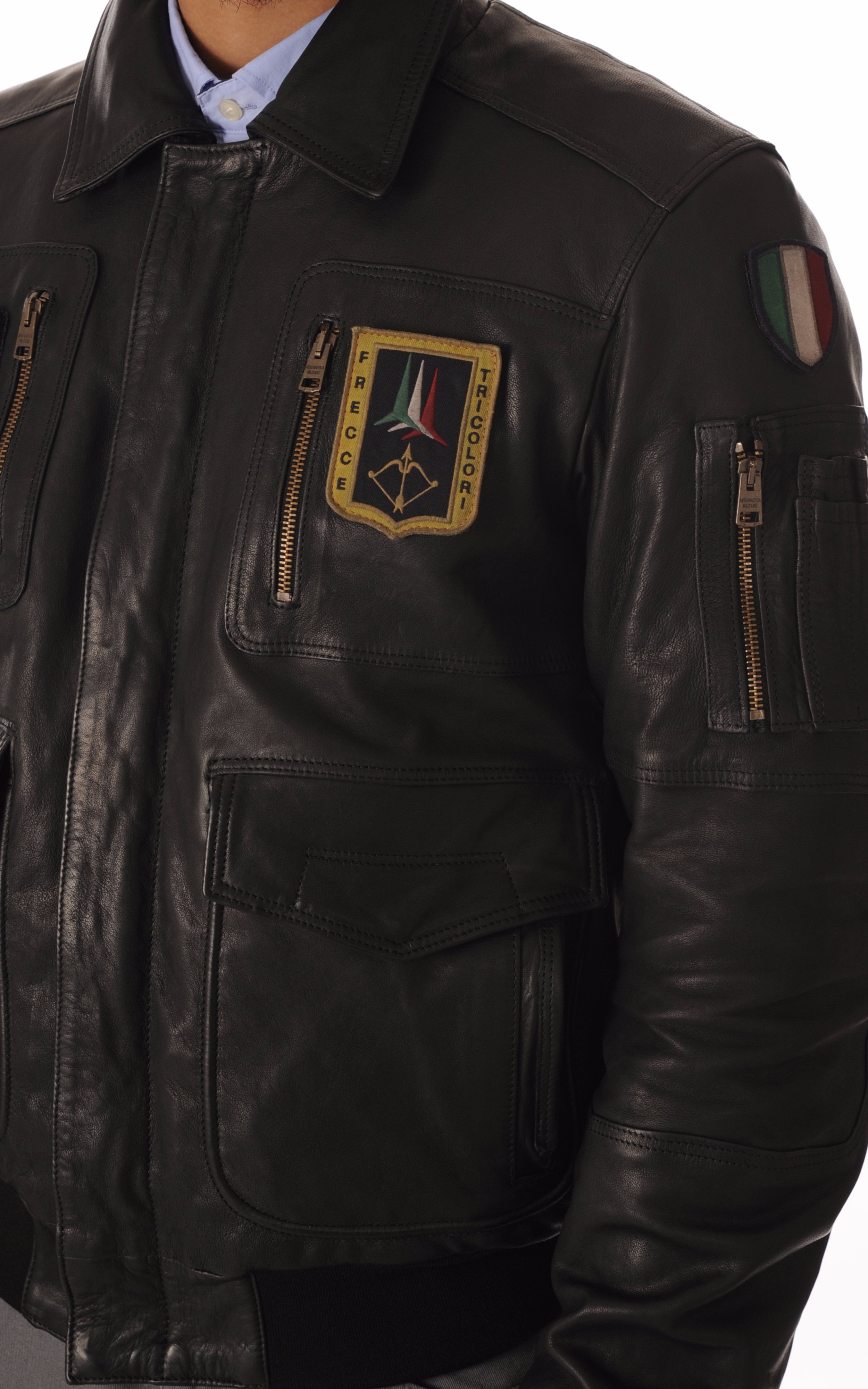 Blouson Cuir Noir Aviation Italienne Aeronautica Militare