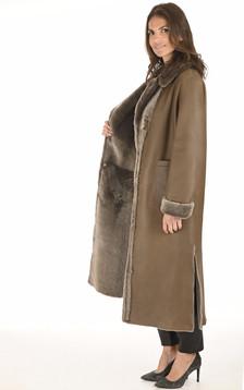 Manteau long peau lainée taupe