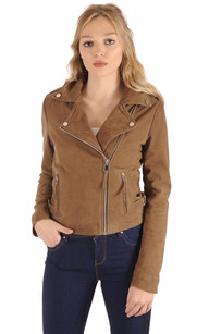 Blouson City Girl Cuir Velours Taupe1