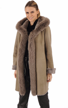 Manteau agneau et renard taupe