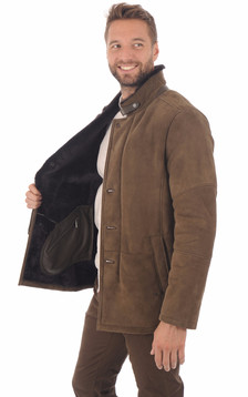 Veste peau lainé marron foncé entrefino