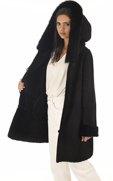 Manteau peau lainée et renard