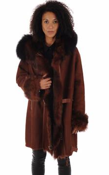 Manteau peau lainée Xenia bordeaux