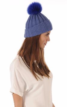 Bonnet en Maille et Fourrure Bleu
