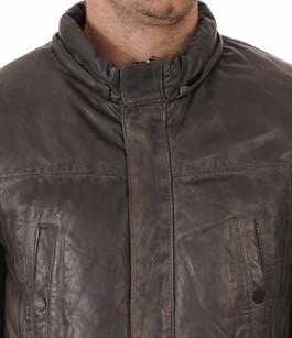 Doudoune cuir gris Oakwood