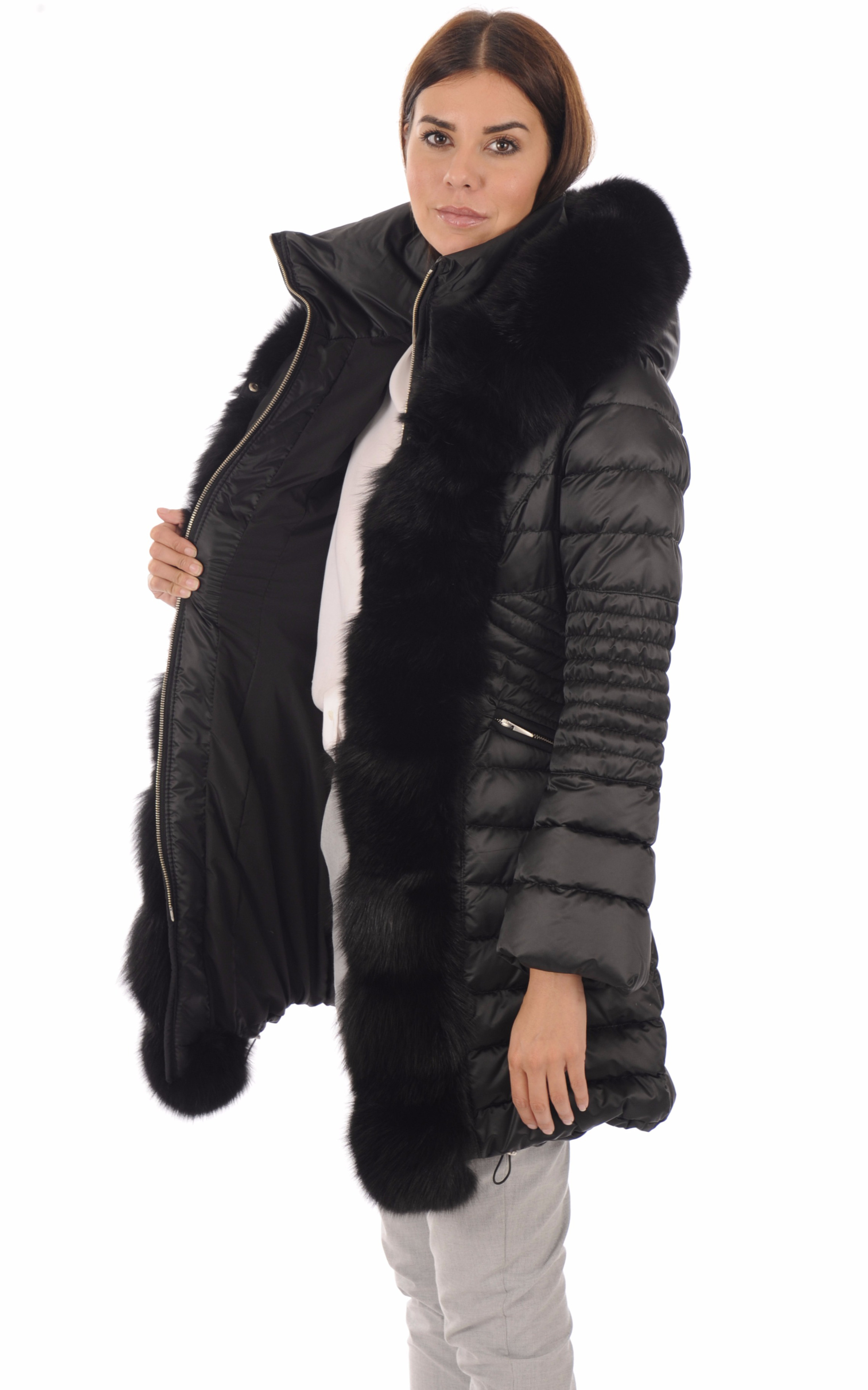 Doudoune Chic renard noir femme Flo&Clo