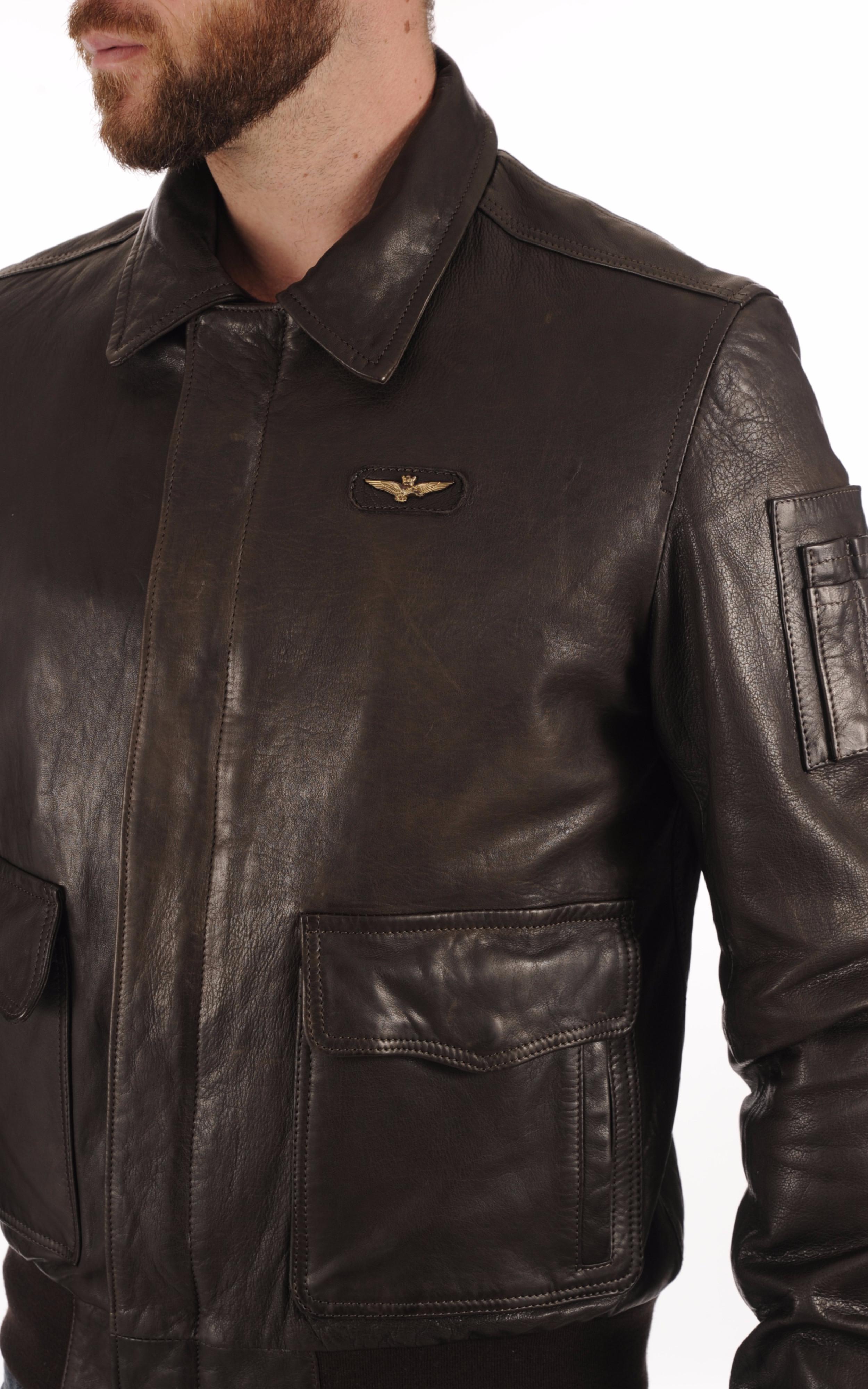 Blouson Cuir Marron Esprit Aviateur Aeronautica Militare