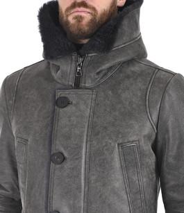 Manteau chic agneau vieilli gris Artico