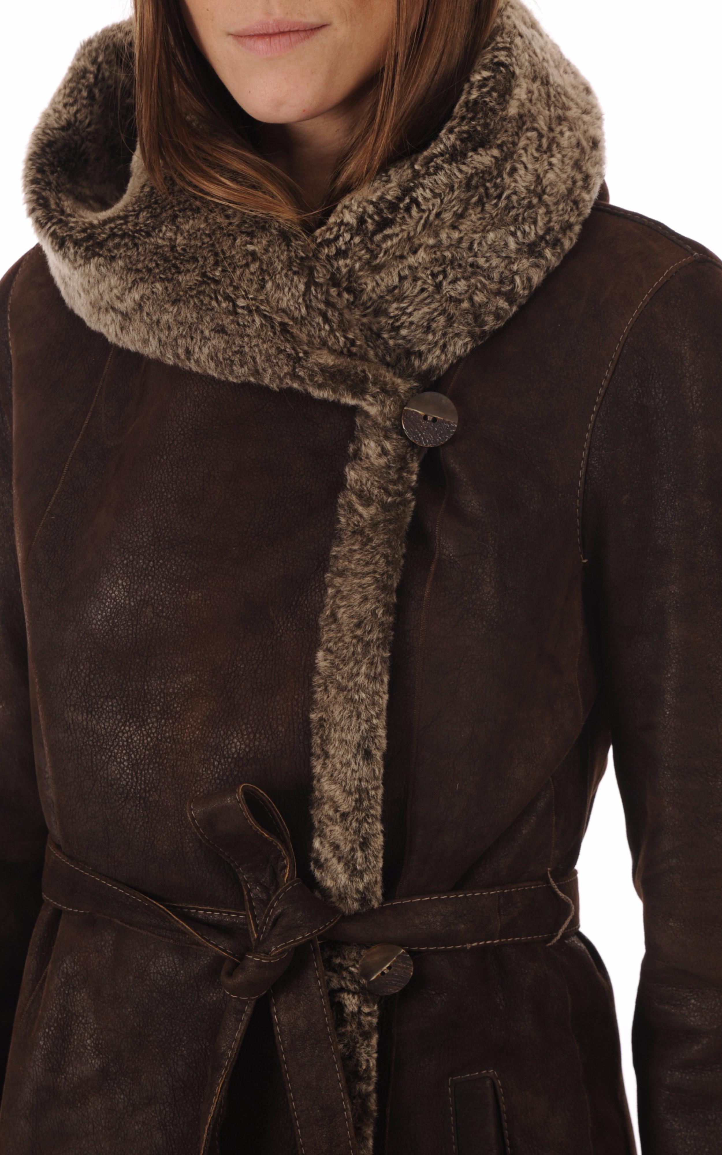 Manteau peau lainée marron velours La Canadienne