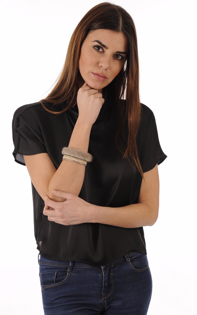 Bracelet Fantaisie Cuir & Vison Beige Tsanikidis