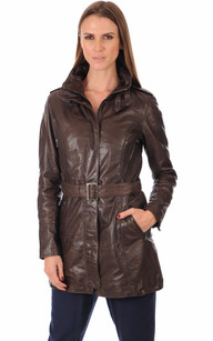 Trench Cuir Marron Femme