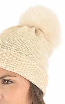 Bonnet en laine et cachemire beige