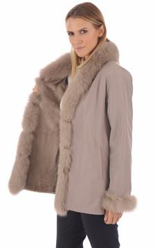 Pelisse réversible renard beige
