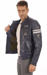 Blouson Motard Bleu Jeans Homme
