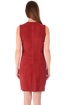 Robe Cuir Velours Rouge
