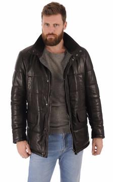 Veste matelassée cuir noir1