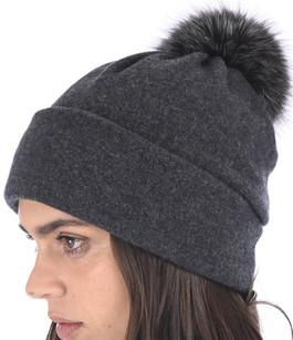 Bonnet laine et renard gris foncé Tsanikidis