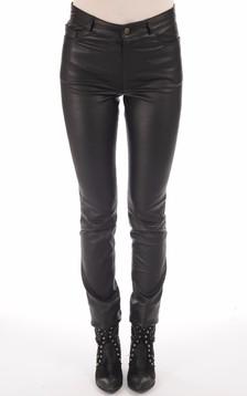 Pantalon Droit Cuir Noir Femme1