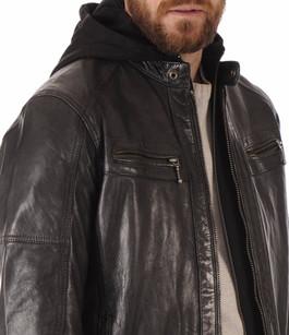 Blouson Cuir Noir avec Capuche Daytona 73