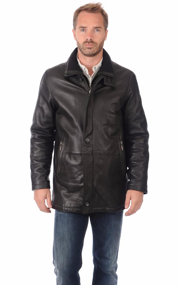 3 4 cuir homme itallo la canadienne veste 3 4 cuir noir. Black Bedroom Furniture Sets. Home Design Ideas