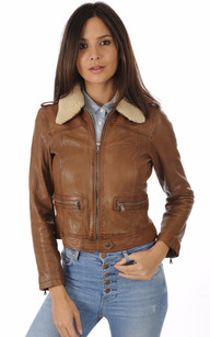 Blouson cuir oakwood marron
