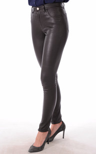 Pantalon Cuir Stretch Marron