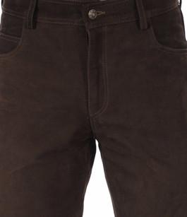 Pantalon Cuir de Buffle Nubuck Marron Homme Maddox